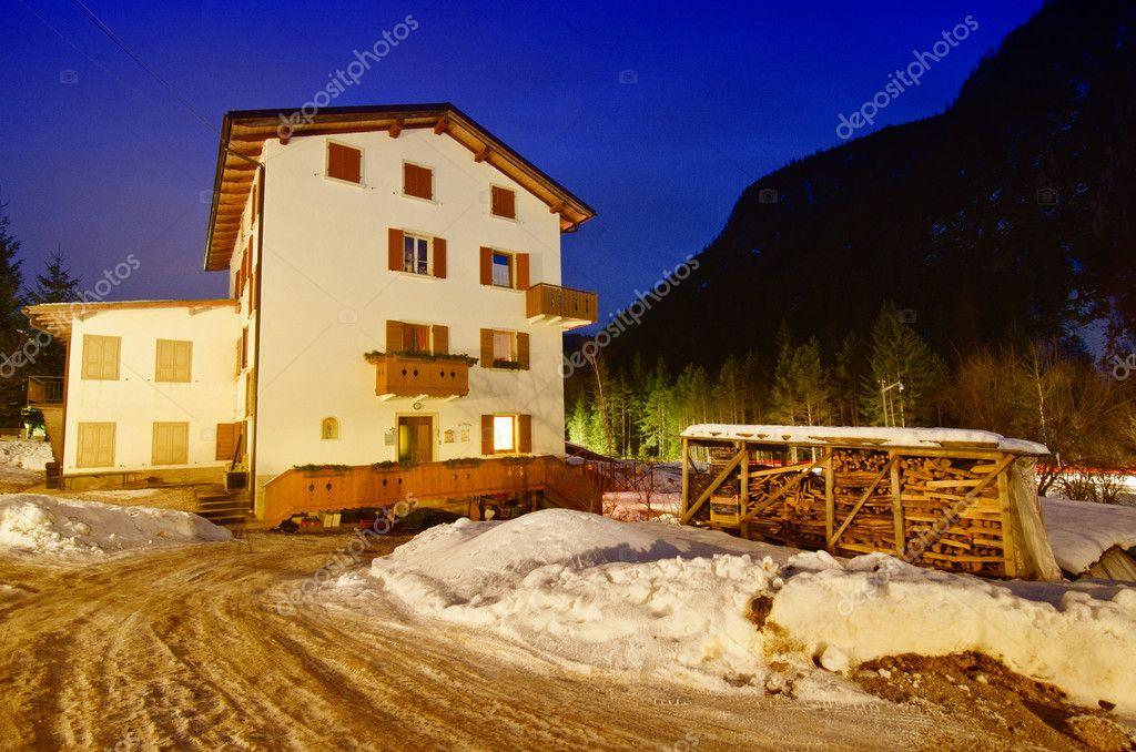 Night Landscape of Dolomites during Winter