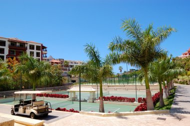 Tennis courts at the luxury hotel and golf car, Tenerife island