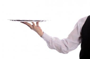 Tray on waiter hand