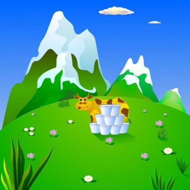 Cow and milk on a mountain meadow. vector