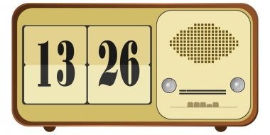 Vector illustration of old clock radio