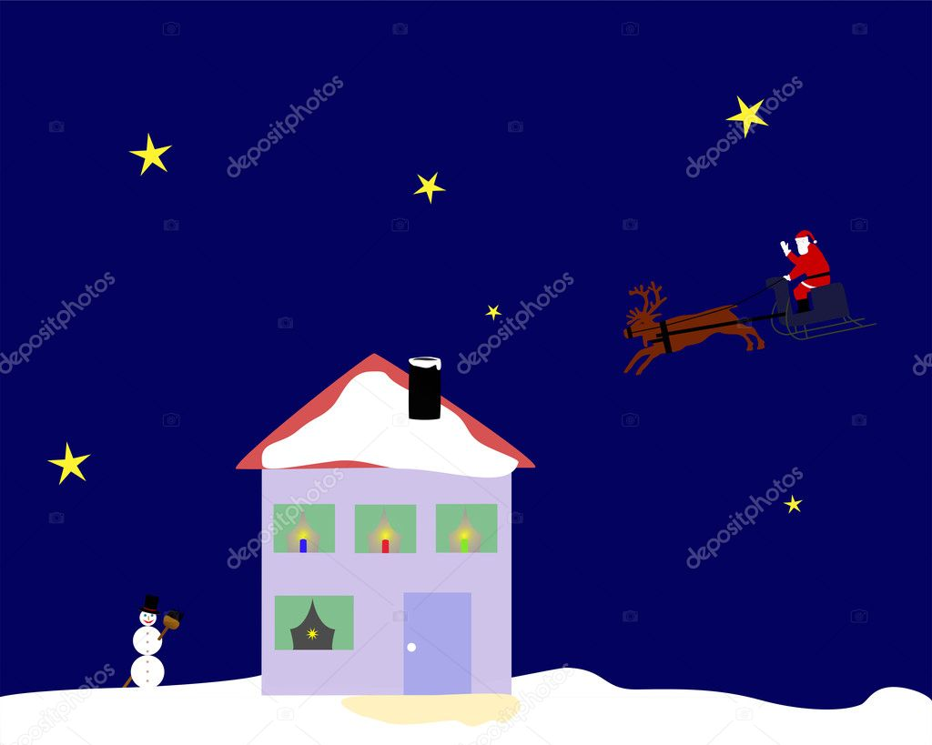 santa claus riding on his reindeer sleigh over the top of a house