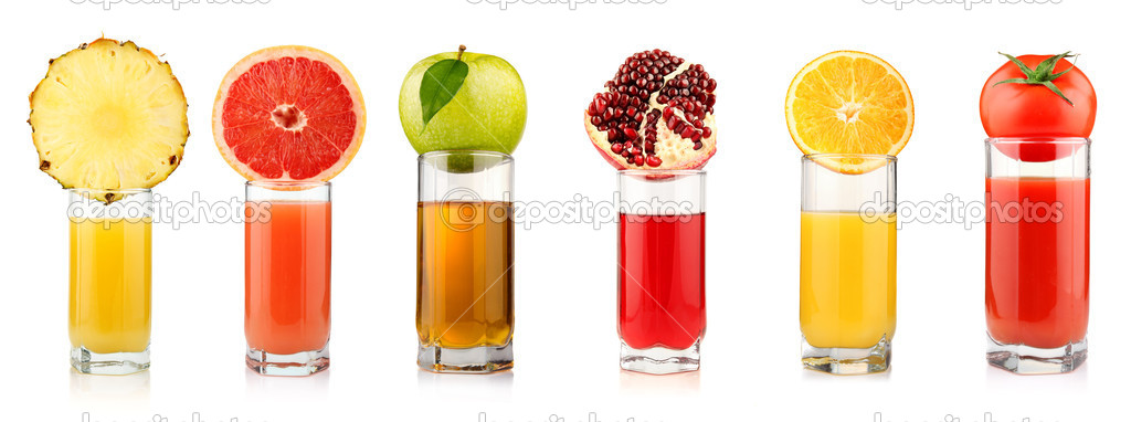 Set of tropical fruit juices in glasses isolated