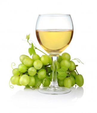 Glass of wine and grape branch isolated