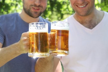 Two men with light beer