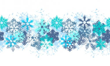 Seamless blue border with different snowflakes on white stock vector