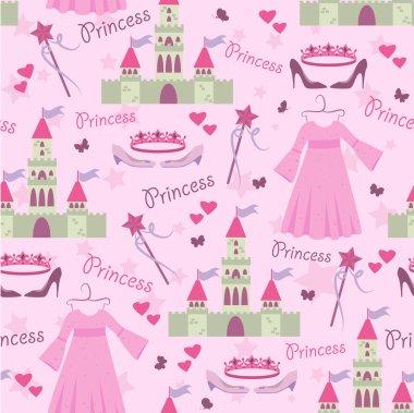 Seamless story princess elements pattern