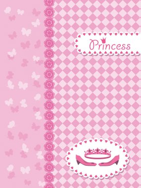 Invitation card with princess crown and shoes.