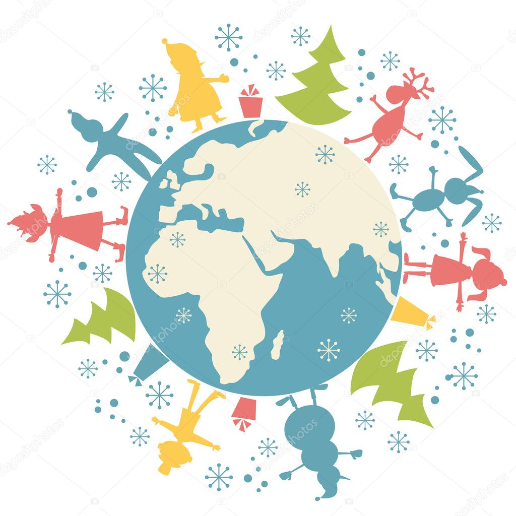Happy Christmas personage and planet Earth