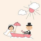 Pozvánka na svatbu s legrační nevěsta a ženich v lodi