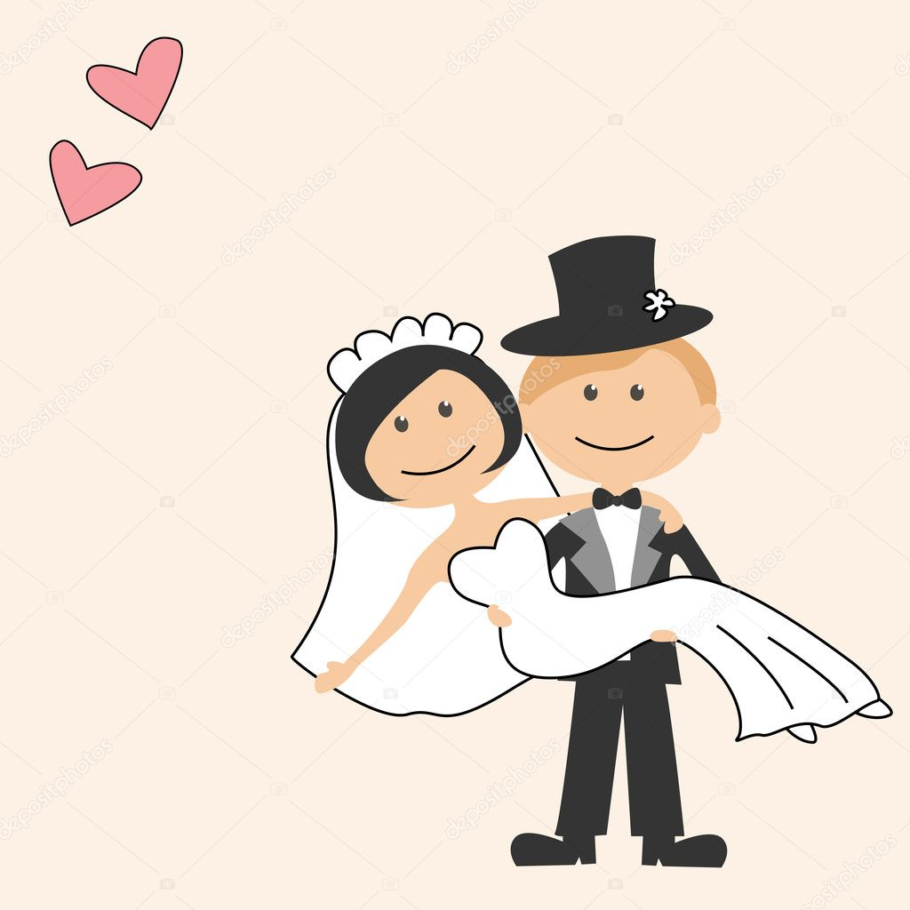 Wedding invitation with funny bride and groom — Stock Vector ...