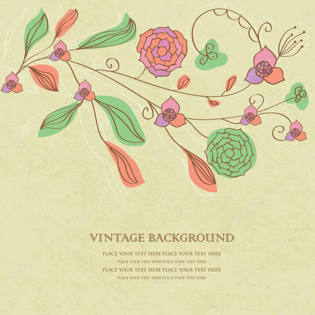Floral vintage background - Vintage Floral Background With Hand Drawn Flowers Stock Photo 6697590