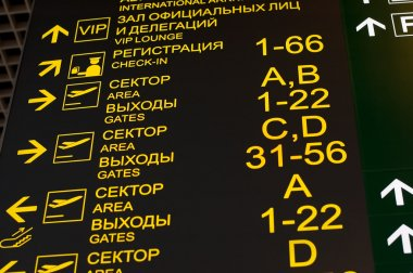 Arrival and departure board at airport