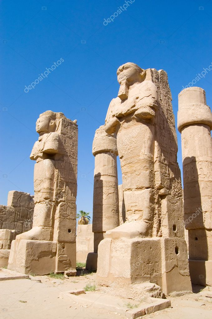 Statues in the ancient temple. Luxor