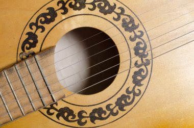 Close-up old acoustic guitar as background