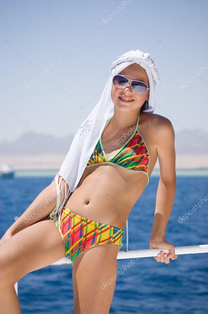 The beautiful girl at the sea