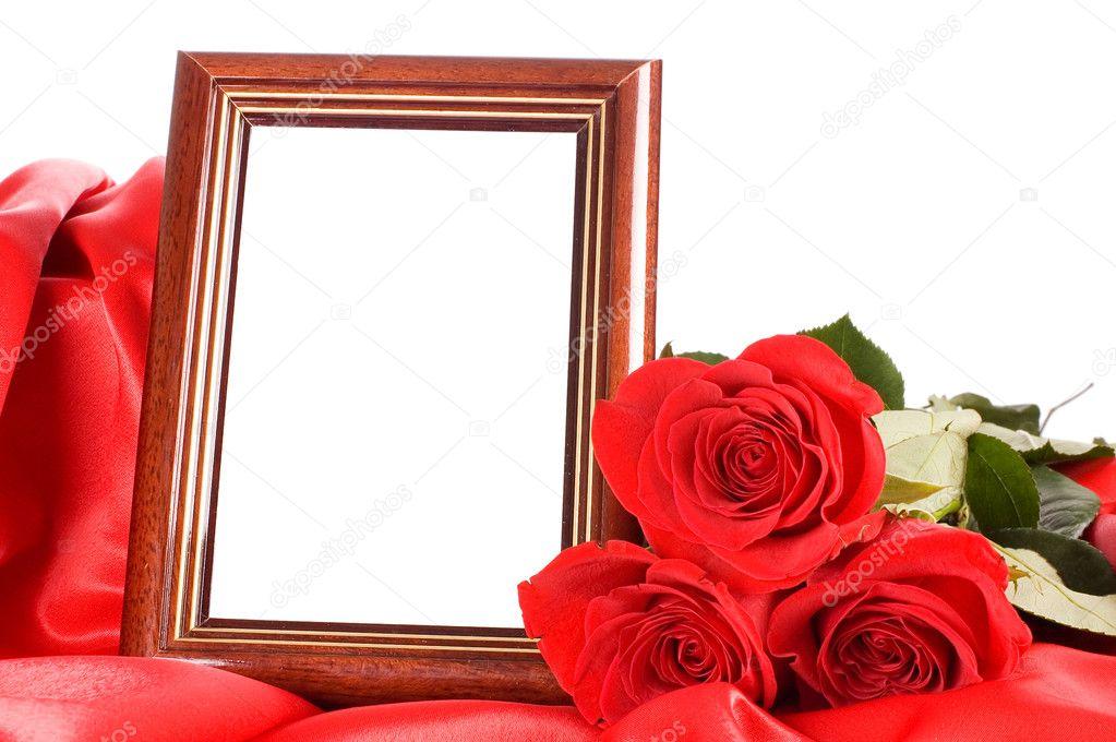 Rosa rossa con un quadro per una foto u foto stock voronin