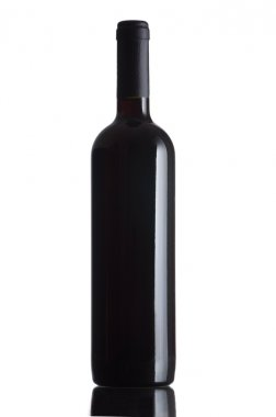 Red wine bottle isolated