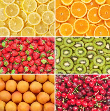 Healthy food background. Fruits and berrys set.