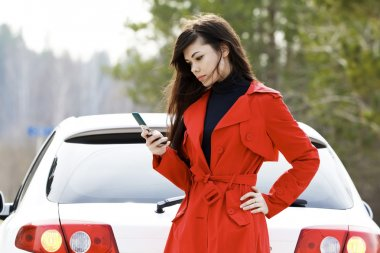 Woman and her damaged car