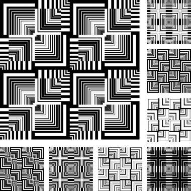 Seamless patterns set in op art design.