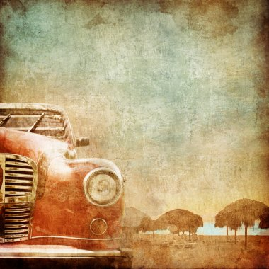 Old Car on the Old Paper Style Photo. Stylization. stock vector