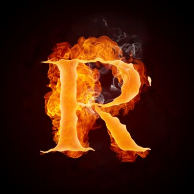 Fire Letter R Isolated on Black Background. Computer Design. stock vector