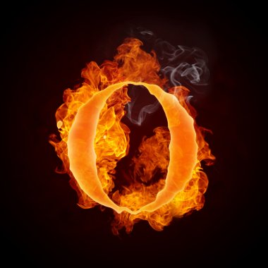 Fire Letter O Isolated on Black Background. Computer Design. stock vector