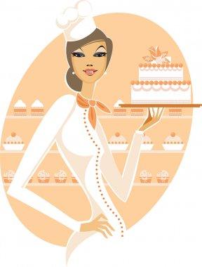 Woman holding wedding cake