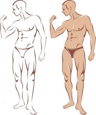 Nude man contour silhouette
