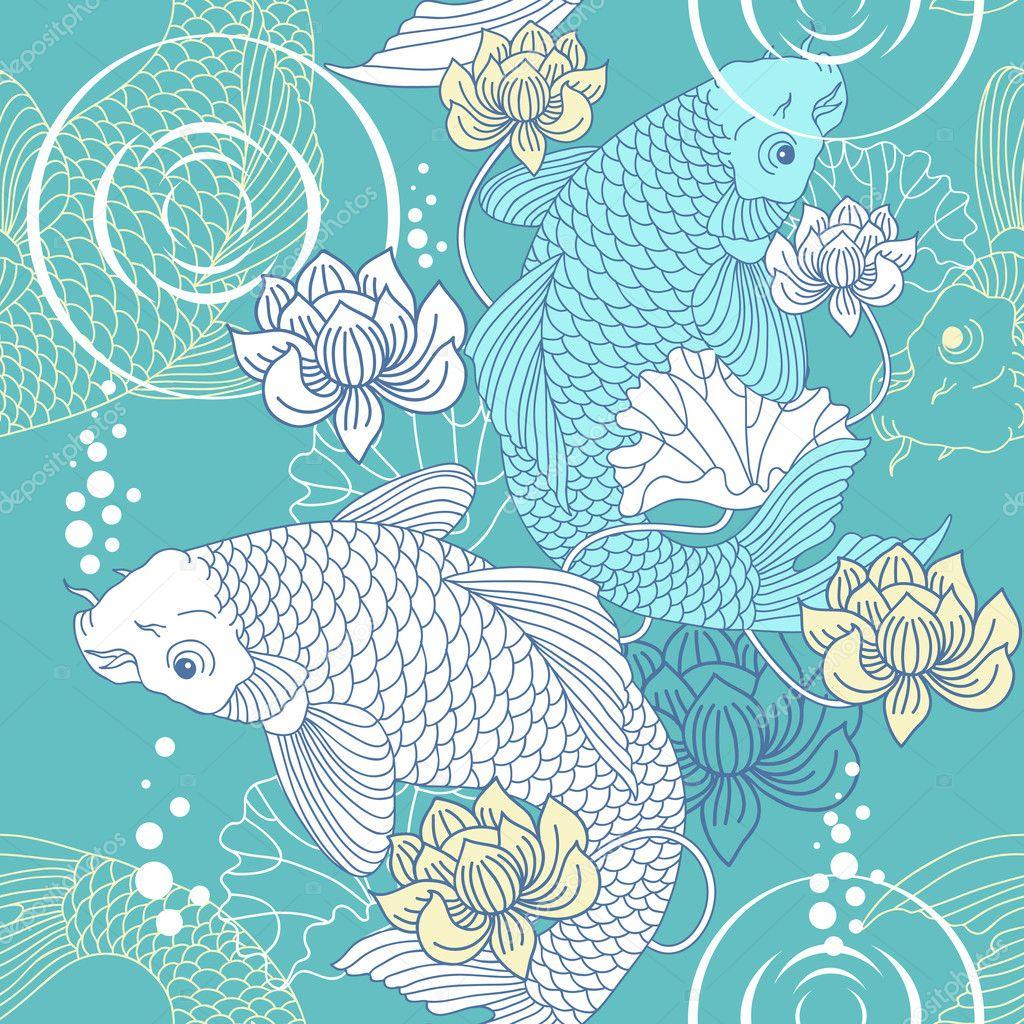 Koi carp pattern stock vector zubada 5859297 for Fraie carpe koi