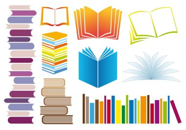 Set of books, vector