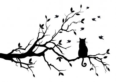 Cat sitting on a tree, watching birds, vector background stock vector