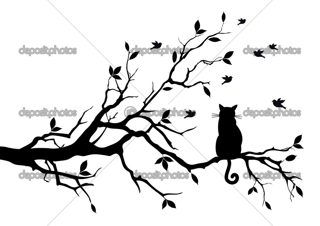 Cat on a tree with birds, vector
