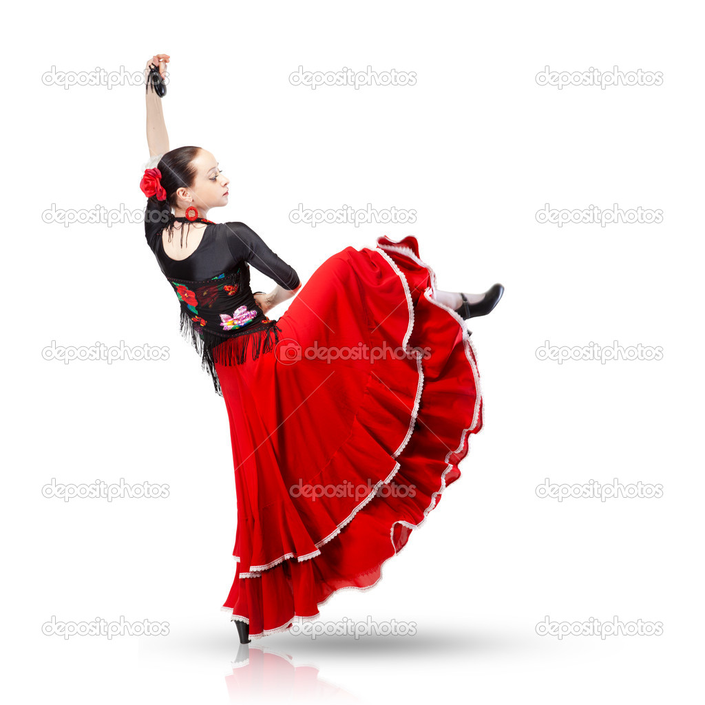 young woman dancing flamenco from back isolated on white u2014 stock