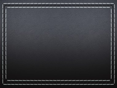 Stitched frame on black leather background