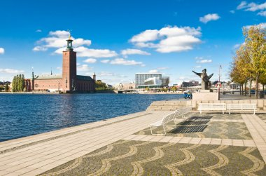 Stockholm city hall and quay in summer