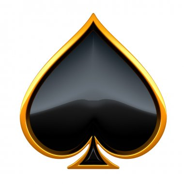 Spades card suits with golden framing