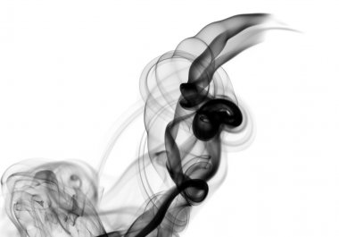 Abstract black smoke shape on white