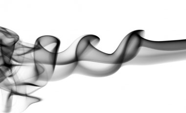 Abstract black fume waves on white