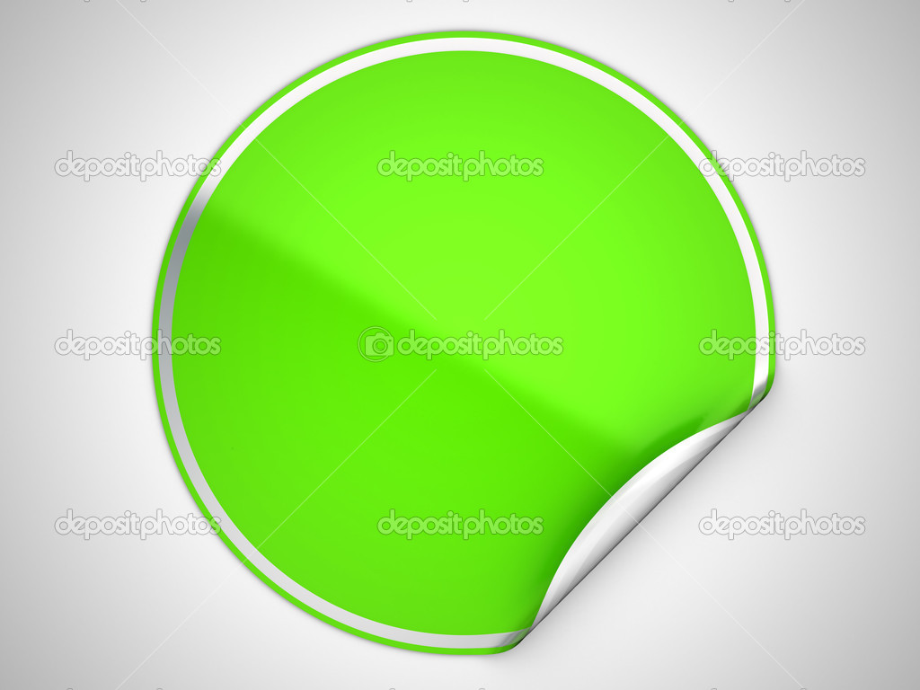 Green round bent sticker or label