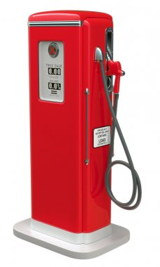 Vintage Red fuel pump isolated over white