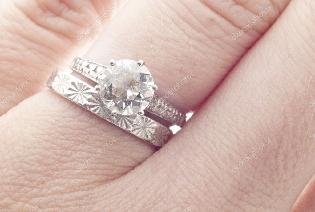 antique diamond wedding ring and band on finger macro close up photo by brookefuller - Wedding Ring And Band
