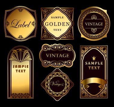 Vintage set ornate gold labels