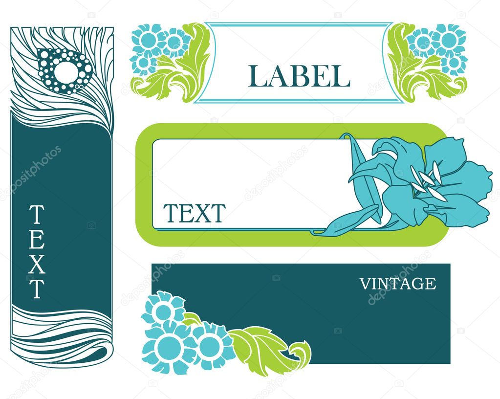 Set of vector labels in art nouveau