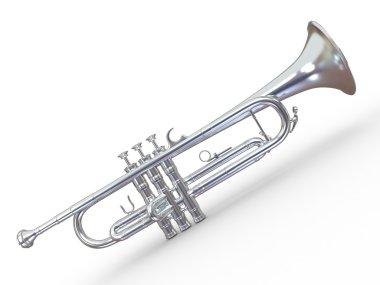 Silver trumpet. 3d