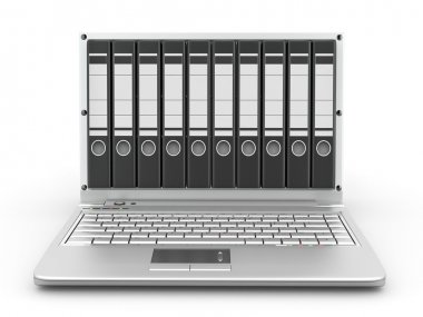 Archive. Laptop with folders instead of the screen