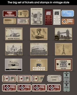 Big set of tickets and stamps in vintage style. vector