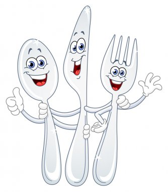 Spoon knife and fork cartoon