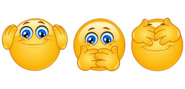 Three monkeys emoticons